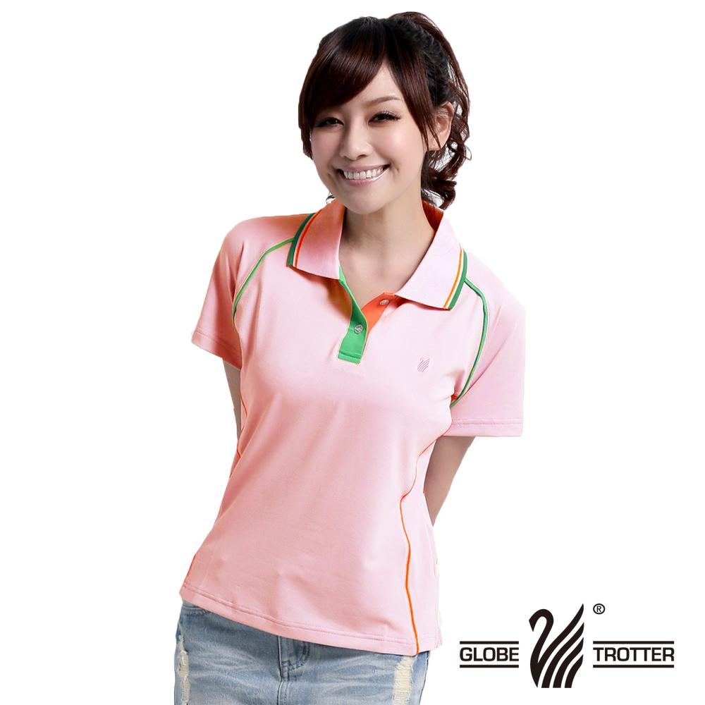 【遊遍天下】MIT台灣製女款抗UV涼爽吸濕排汗機能POLO衫S083粉