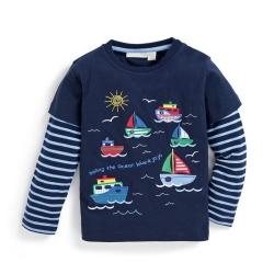 歐美風 男童 純棉長袖T恤-航海去