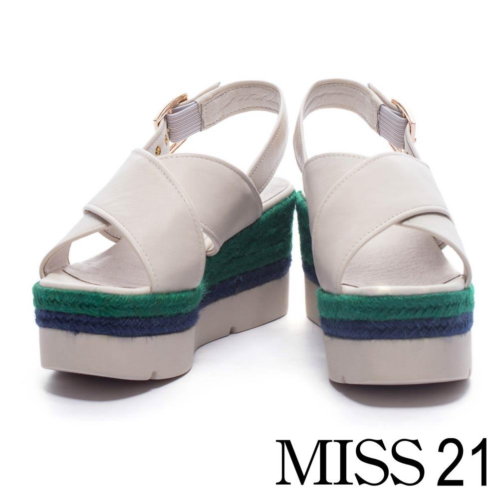 涼鞋 MISS 21 夏日清新純色交叉寬帶麻編厚底涼鞋-米白