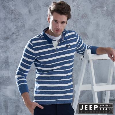 JEEP 洗舊經典條紋長袖POLO衫 -藍白