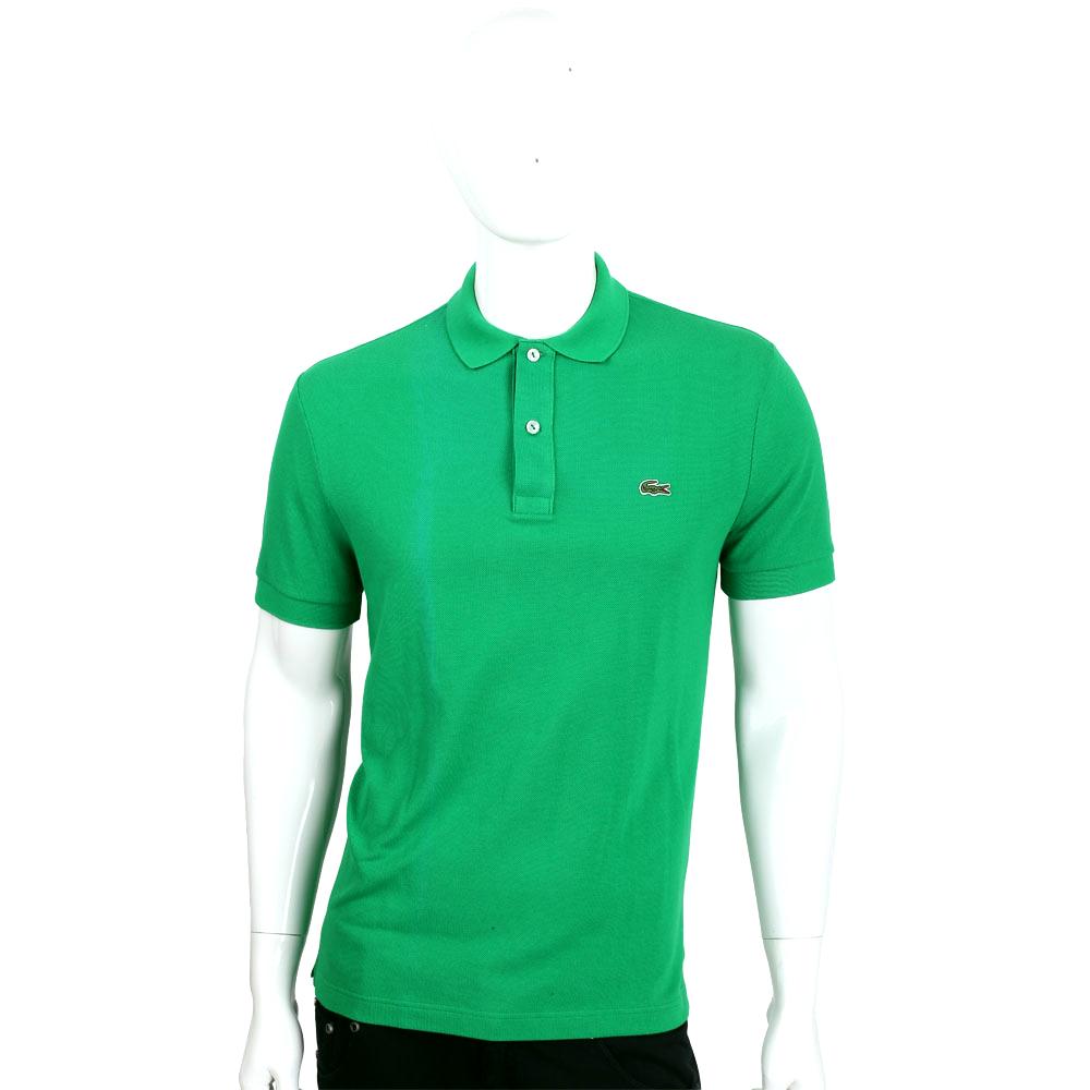 LACOSTE Slim Fit 綠色二釦修身短袖POLO衫(男款)