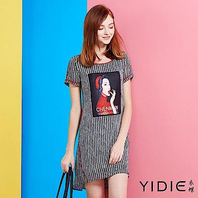 【YIDIE衣蝶】韓版休閒女伶圖案洋裝