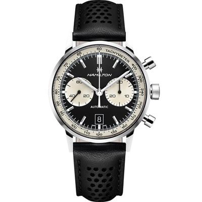 Hamilton AMERICAN CLASSIC 復古風格拱形計時腕錶-黑色/42mm
