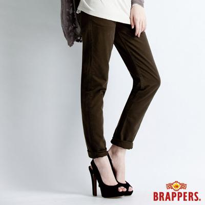 BRAPPERS-女款-Boy-Friend-Jeans系列-女用3D直統反摺褲-深綠