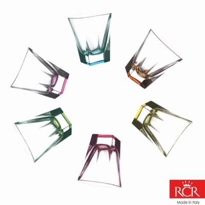 義大利RCR芙斯無鉛水晶6色威士忌杯(6入)270cc
