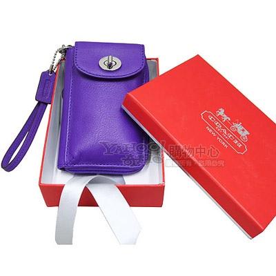 COACH LEGACY全真皮多功能雙層掛式中夾手機包-紫(附原廠禮盒)