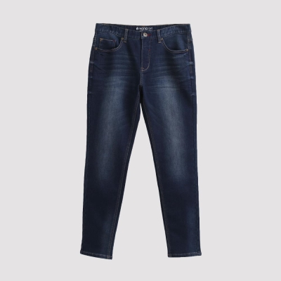 Hang Ten - 男裝 - 刷色錐版針織牛仔褲 - 深藍