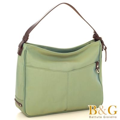 B&G OL極簡俐落A4通勤肩背包(幻彩綠)