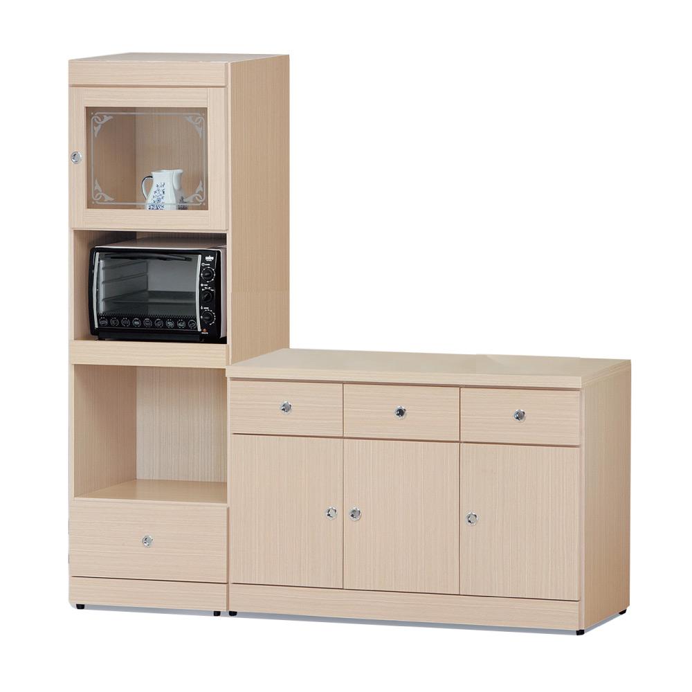品家居 柏莎6尺橡木紋四門四抽餐櫃組合-180x42.5x182cm免組
