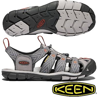 KEEN 1018497灰/橘 Clearwater CNX 男戶外護趾涼鞋