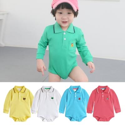 baby童衣 刺繡小動物可愛Polo領包屁衣 35241