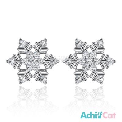 AchiCat 925純銀耳環 冰晶雪花 純銀耳針