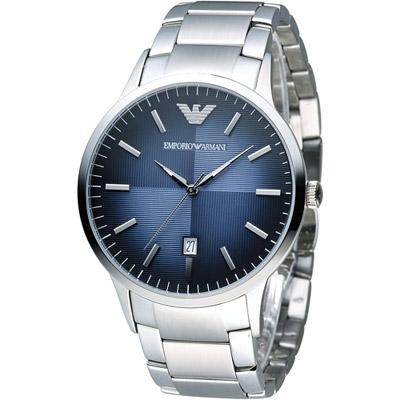 EMPORIO ARMANI Classic 簡約內斂時尚腕錶-藍/43mm