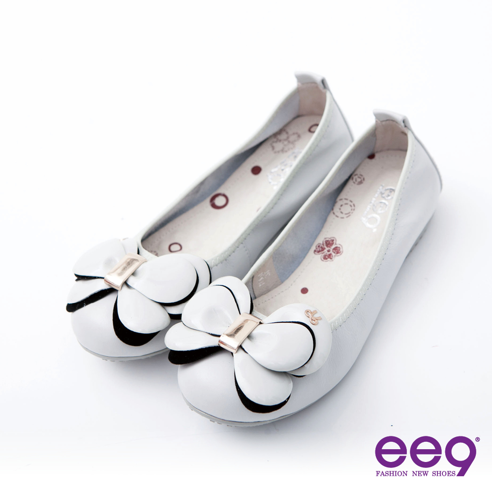 ee9 戀愛季節氣墊式舒適真皮蝴蝶結娃娃鞋~氣質米