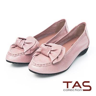 TAS蝴蝶結牛皮尖頭樂福鞋-質感可可