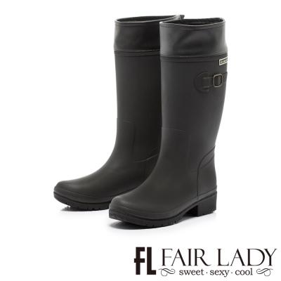 Fair Lady 注目飾扣2WAY騎士風雨靴 黑
