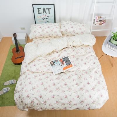 鴻宇HongYew 100%精梳棉 春漾庭園-米 雙人四件式薄被套床包組