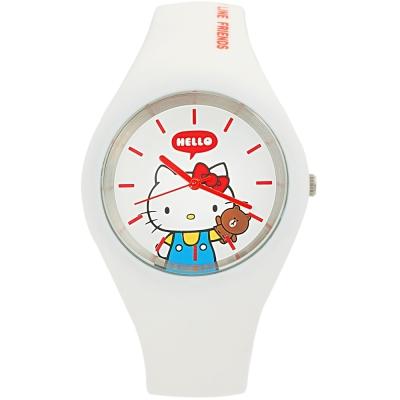 HELLO KITTY 凱蒂貓 x LINE 限量聯名超萌KITTY手錶-白/40mm