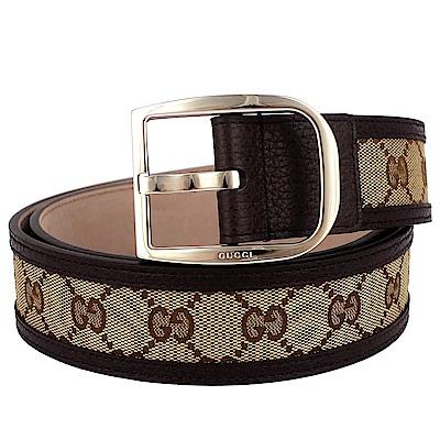 GUCCI 馬蹄鐵扣頭緹花帆布皮飾邊皮帶(95cm)