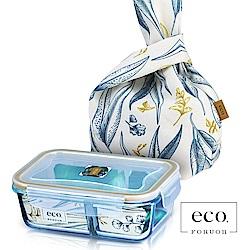 法國FORUOR eco耐熱玻璃分隔保鮮盒提袋組800ml