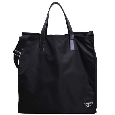 PRADA TESSUTO SAFFI尼龍手提/斜背兩用購物包(黑)