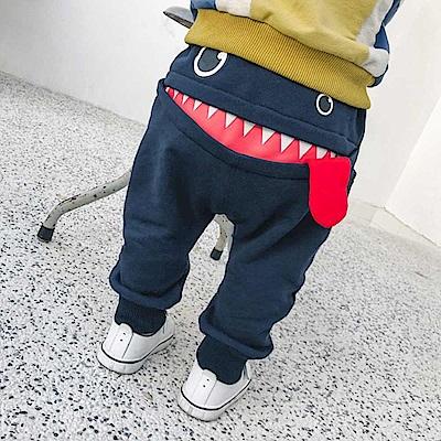 Baby unicorn 深藍怪獸嘴巴長褲