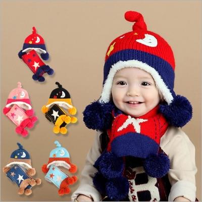 韓版 星月圖案 (飛行護耳帽+圍巾) 兩件組