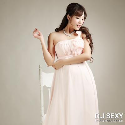 單肩花朵造型雪紡長禮服-D-J-SEXY