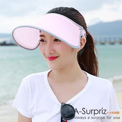A-Surpriz-彈力抗UV防曬帽-淺粉