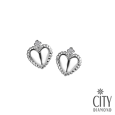 City Diamond引雅【東京Yuki系列】14K雕邊愛心鑽石白K耳環