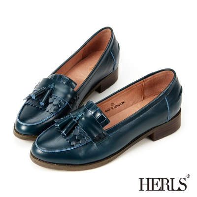 HERLS-全真皮復古流蘇樂福鞋-綠色