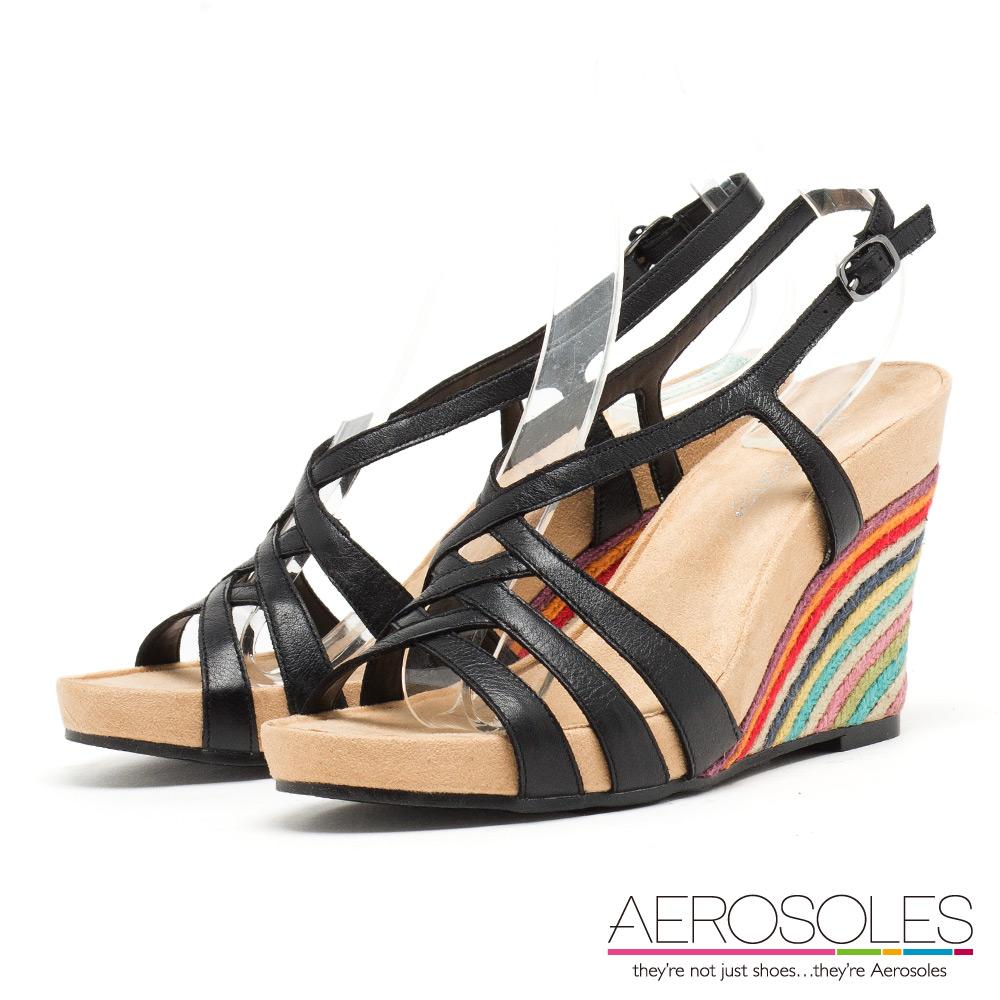 AEROSOLES 異國虹彩交叉繫帶彩色編織楔型鞋~個性黑