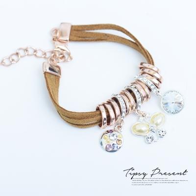 微醺 禮物 手鍊 麂皮 合金鍍K金 水鑽 蝴蝶 異材質混搭 優雅 皮繩