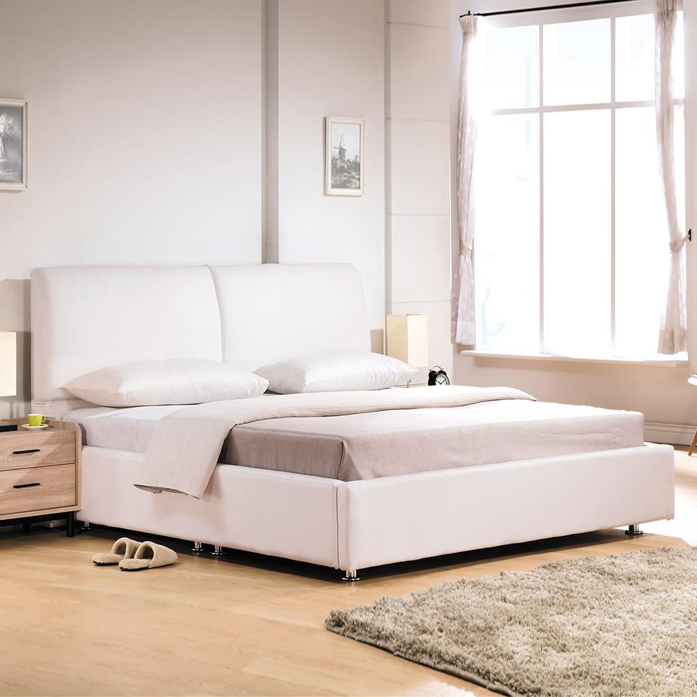 Boden-佩洛6尺白色皮革雙人加大床組(床頭片+床底)(不含床墊)