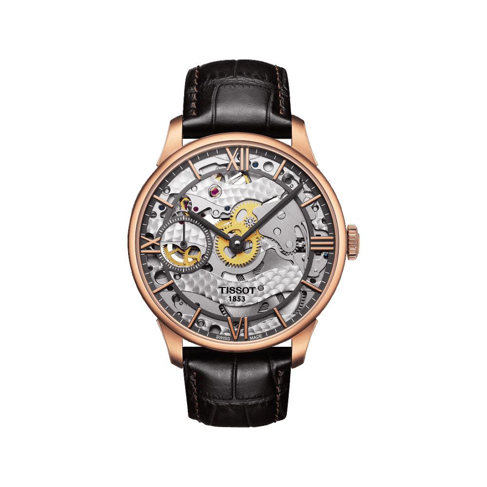 TISSOT T-Classic 羅馬精湛鏤空手動上鍊腕錶-玫瑰金框x咖啡色錶帶-42mm