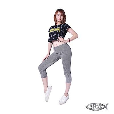 5B2F-五餅二魚-優質棉選-橫條七分褲