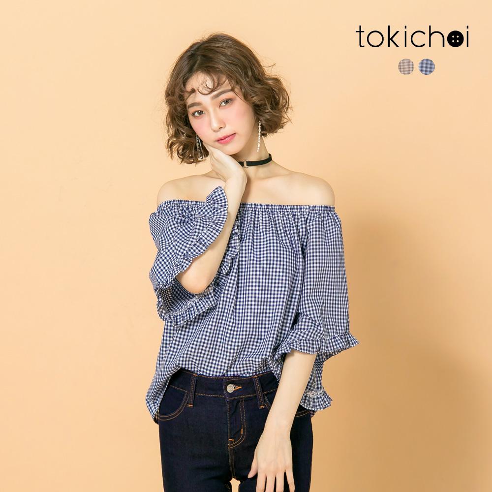 東京著衣 一字領寬袖荷葉邊格紋上衣-S.M(共二色)