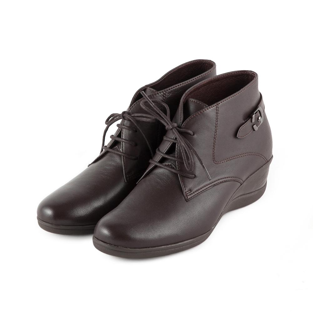 TAS 太妃Q系列 扣帶裝飾綁帶楔型短靴-質感咖