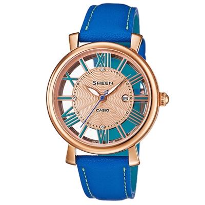 SHEEN經典華洛世奇水晶鏤空設計雙色皮帶錶(SHE-4047PGL-2A)藍34mm
