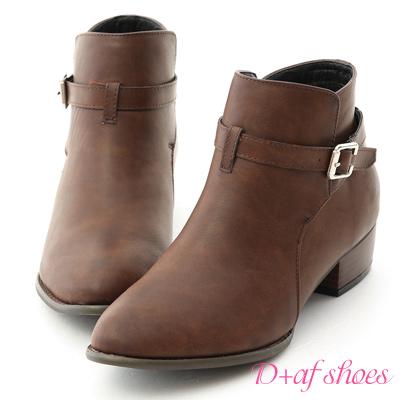 D+AF 獨特焦點.質感細釦環低跟短靴*咖