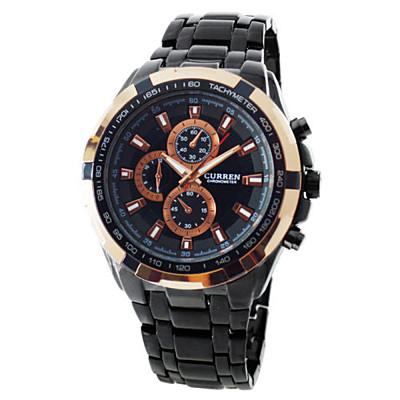 Ebusan CURREN 時尚潮流款豪邁霸氣仿三眼計時造型腕錶-黑/36mm