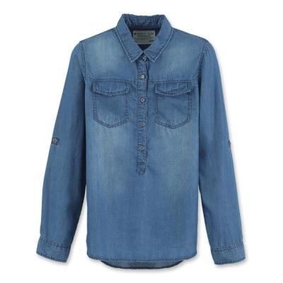 Hang Ten - 女裝 - 經典丹寧舒適襯衫- 藍