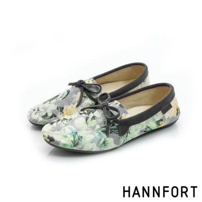 HANNFORT FLEX360緹花織紋平底鞋-女-淺草綠