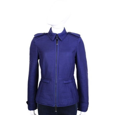 BURBERRY 藍色條狀車縫設計拉鍊外套