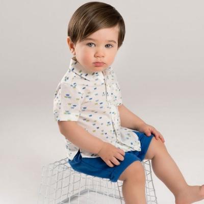 Dave Bella 白底綠藍紙船短袖上衣短褲套裝2件組