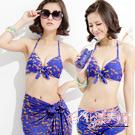 花漾美姬‧蒼茫之鍊*金鎖條三件式鋼圈泳衣(藍)