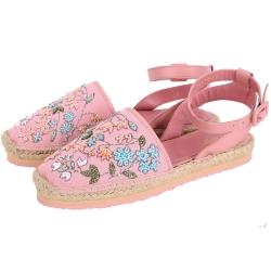 RED VALENTINO 花朵串珠草編涼鞋(粉色)