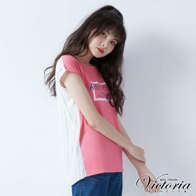 Victoria 異材質拼接長版落肩短袖T-女-嫩粉