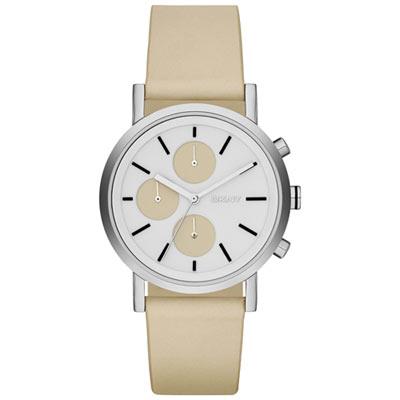DKNY 搶眼定番都會三眼時尚腕錶-白x裸色/38mm