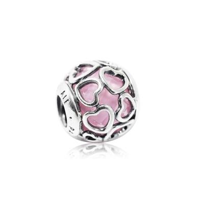 Pandora 潘朵拉 粉色水晶纏繞愛心 純銀墜飾 串珠